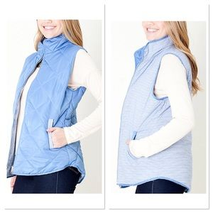 Blue Quilted Reversible Vest